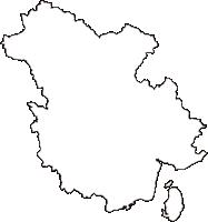 広島県三原市(みはらし)の白地図無料ダウンロード
