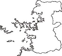 愛媛県宇和島市(うわじまし)の白地図無料ダウンロード