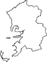 愛媛県八幡浜市(やわたはまし)の白地図無料ダウンロード